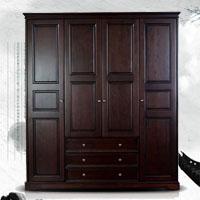 美式乡村实木衣柜 卧室简约型(样图)