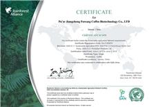 Rainforest Alliance Certificate