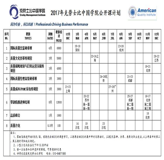 2017年克劳士比中国学院公开课计划