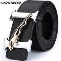 BROWNEFOX 皮带男士 商务休闲腰带男真皮板扣豹子扣韩版裤带 BF-0801银黑色