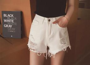 新款韩版修身磨破牛仔短裤
