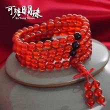 可塘明珠 送珠宝鉴定证书 天然玛瑙手链本命年108佛珠多圈男女士红黑玛瑙手串