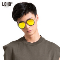 LOHO 偏光太阳镜男款开车驾驶镜男女款大框彩膜男士墨镜太阳眼镜 CX64017 黑金色