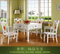 现代豪华实木餐桌两用