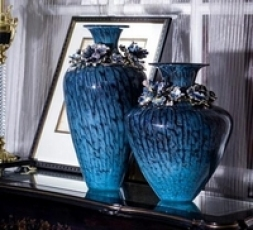罗比罗丹手工玻璃花瓶高端现代家居装饰品珐琅彩工艺插花台面摆件