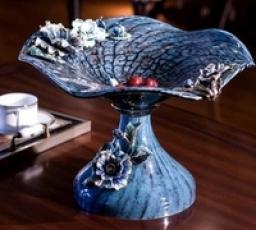 罗比罗丹花开聚喜蓝色果盘欧式家居装饰品摆设高端珐琅彩摆件