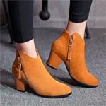 牛皮粗跟短靴中跟流苏靴