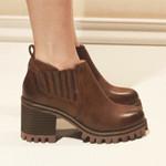 冬季新款切尔西粗跟短靴