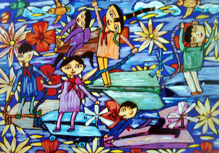 《乘着动力纸飞机去上学》 王林 女 12岁 海口市 导师:陈英伟