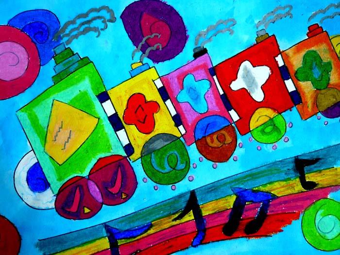 儿童科幻画——音乐火车开来啦  江阴市英桥国际学校施心艺绘画  王萍老师辅导