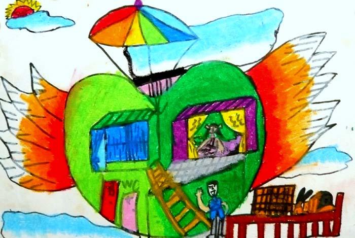 儿童科幻画——未来建筑 江阴市英桥国际学校吴思源绘画  王萍辅导