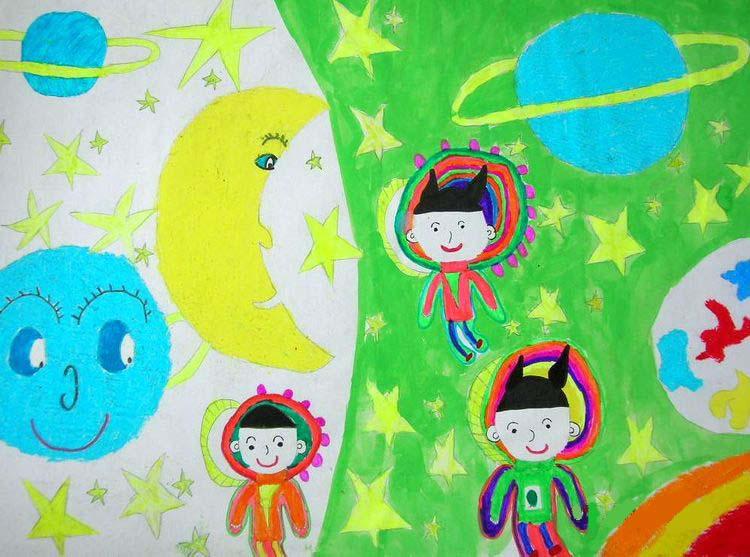 儿童科幻画——宇宙乐园 夏雨帆画  江阴市英桥国际学校  王萍老师辅导