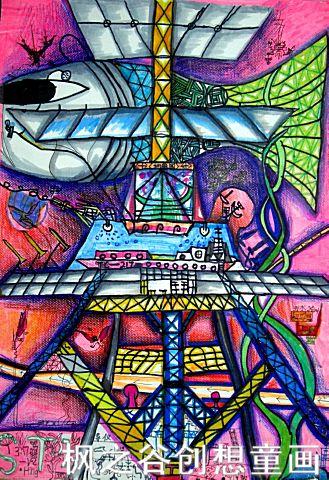 儿童科幻画——《海底奇境》李盛石  枫之谷创想童画   贾继红老师推荐儿童科幻画