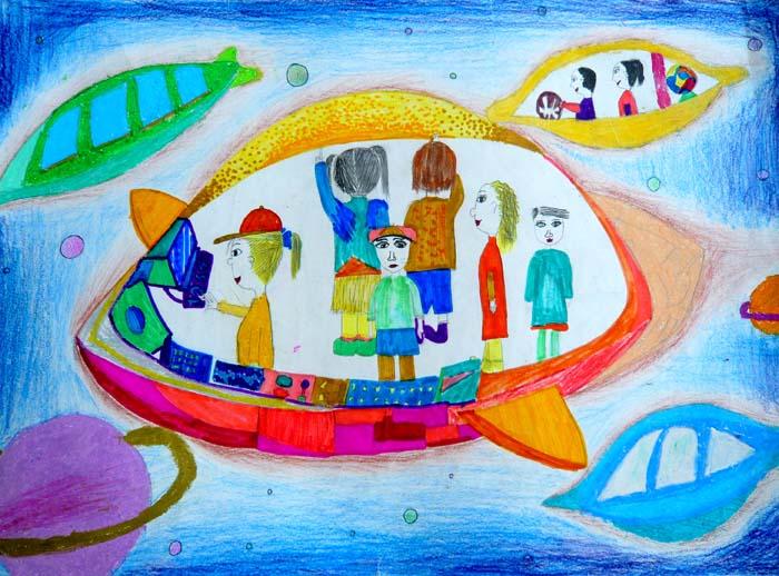 儿童科幻画—未来的校车 平枚9岁   江阴市英桥国际学校王萍辅导