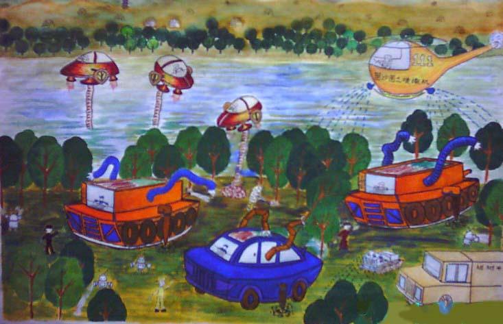 儿童科幻画——黄河治理工程  李乐  宝鸡实验小学  周建军老师辅导