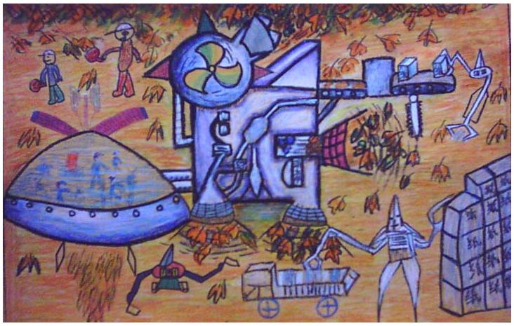 儿童科幻画——变落叶为纸业  黄毅飞  宝鸡实验小学  周建军老师辅导