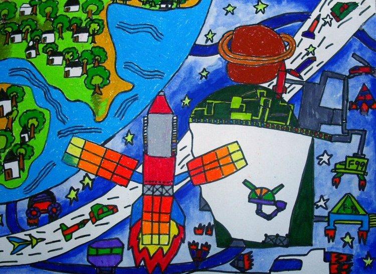 儿童创意画——外太空 周智侃画  江阴市英桥国际学校王萍老师辅导