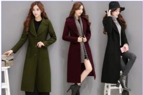 满减---【修身显高显瘦 穿出您的美】2016冬装新款韩版毛呢外套女修身显瘦中长款过膝加棉加厚气质羊毛呢子
