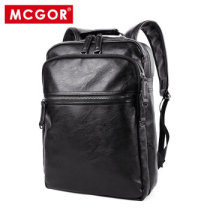 麦哲(MCGOR)男士双肩包男韩版休闲旅行背包14寸学生电脑书包A5073MG 黑色