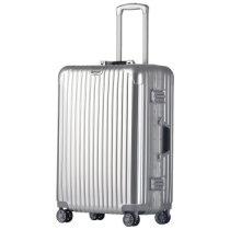 银座(GNZA)A-1133K商务铝框拉杆箱静音万向飞机轮男女箱包旅行箱硬箱TSA海关密码锁行李箱24寸铝银白