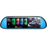 ACCO艾酷X1000行车记录仪云GPS导航仪电子狗后视镜一体机 黑色 云导航+前后双录+云测速+3G自动升级+3年流量&