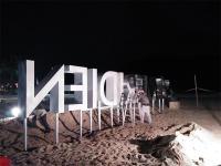 海南酒店沙滩发光字安装