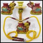 双管金色大象树脂水烟壶