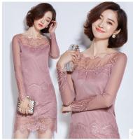 批发产品 ---- -2016秋冬新款女装中长款蕾丝打底衫韩版修身上衣长袖镂空连衣裙