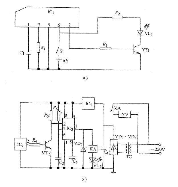 ic3为ne555时基集成电路;ic4为7805三端稳压集成电路