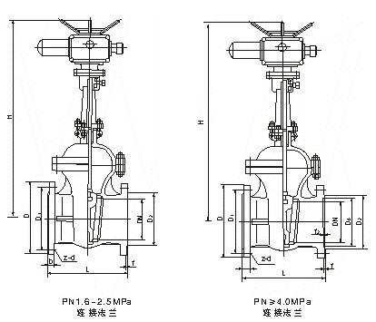 Z941国标电动法兰闸阀结构图.png