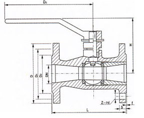 一体式法兰不锈钢高温球阀结构图.png