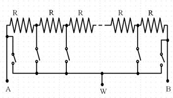 显示电子开关的64位数字电位计。同一时间只能闭合一个电子开关,该开关决定电阻比。