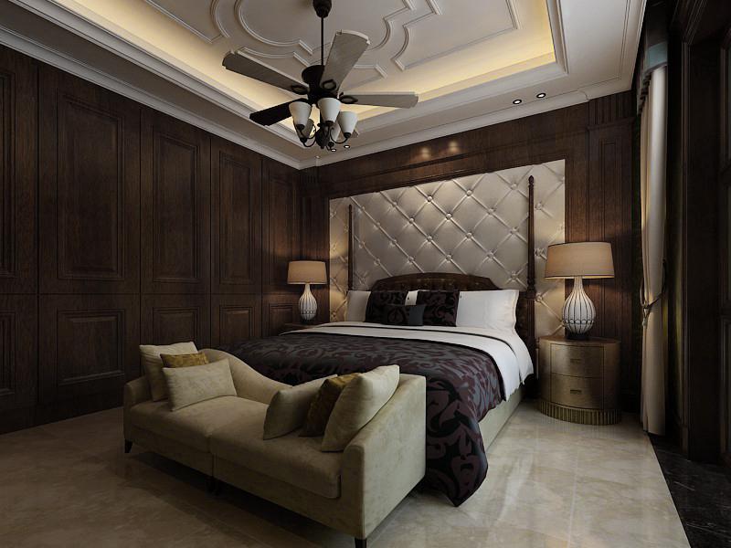 杭州上河湾110㎡中式风格装修效果图——卧室装修设计