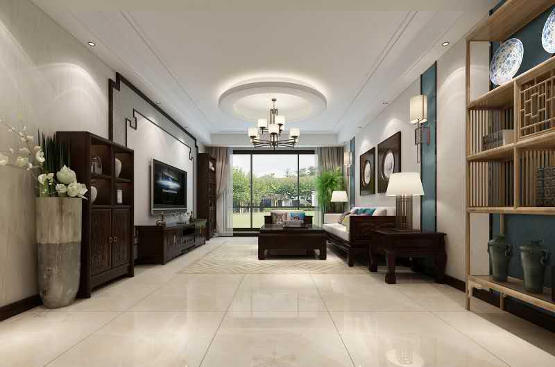 杭州上河湾110㎡中式风格装修效果图——客厅装修设计
