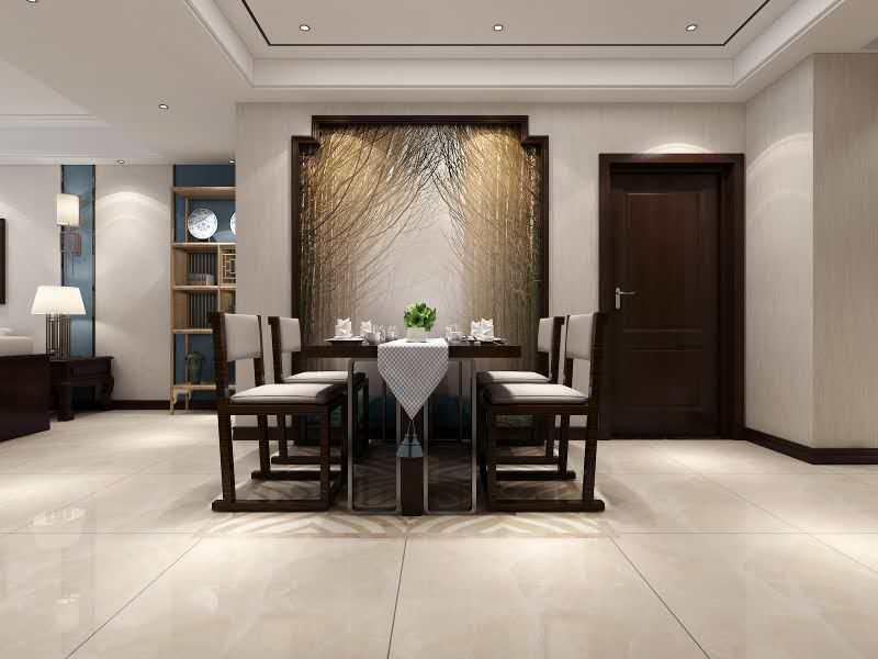 杭州上河湾110㎡中式风格装修效果图——饭厅装修设计